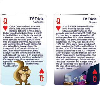 Playing Cards - TV Trivia: 60's and 70's
