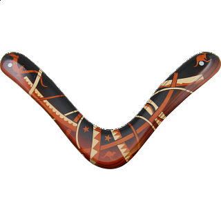 Range Master - decorated wood boomerang
