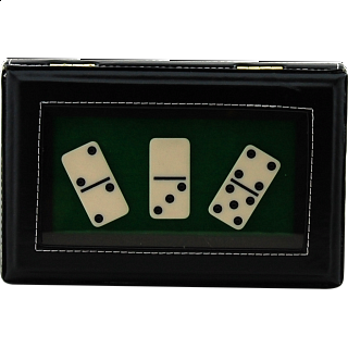 Dominoes Double 6 with a Black Leatherette Case