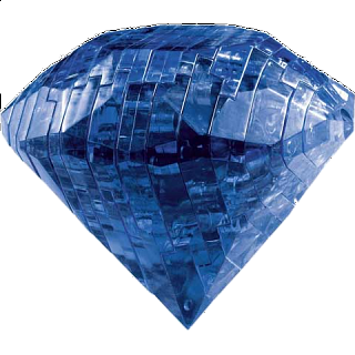Puzzle Solution for 3D Crystal Puzzle - Gem - Sapphire Blue