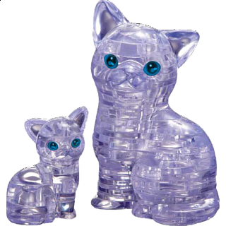3D Crystal Puzzle - Cat & Kitten