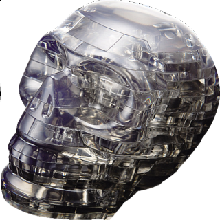 Puzzle Solution for 3D Crystal Puzzle - Black Skull