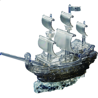 Puzzle Solution for 3D Crystal Puzzle Deluxe - Pirate Ship (Black)
