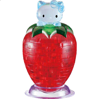 3D Crystal Puzzle - Hello Kitty on Strawberry