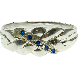 4 Band - Sterling Silver Puzzle Ring - Blue Sapphire