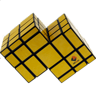 Mirror Double Cube - Black Body with Yellow Labels