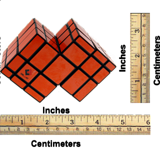 Mirror Double Cube - Black Body with Orange Labels