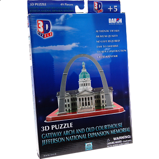 Gateway Arch and Old Courthouse - 3D Jigsaw Puzzle