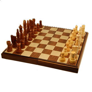 Chess Set - 11 inch Walnut Finish (Magnetic, Folding)