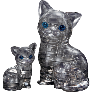 Puzzle Solution for 3D Crystal Puzzle - Black Cat & Kitten