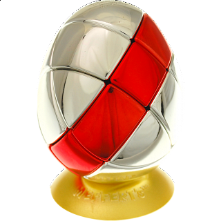 Metalised Egg 3x3x3 - Silver with Red Stripe