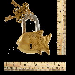 Brass Small Fish Padlock - Regular Lock