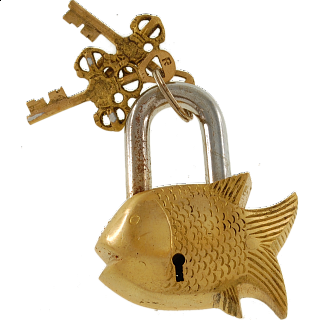 Brass Small Fish Padlock - Regular Lock