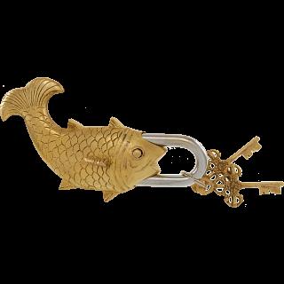 Brass Fish Trick Puzzle Padlock