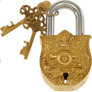 Brass Puzzle Trick Padlock - Coat of Arms