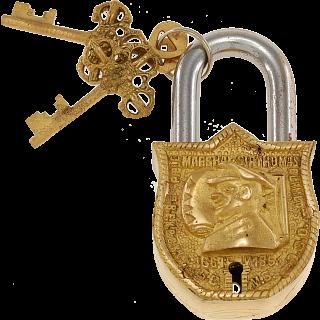 Brass Puzzle Trick Padlock - Sir Thomas Blamey