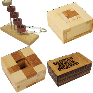 .Level 10 - a set of 3 wood puzzles