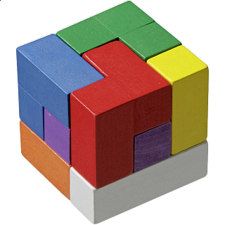 Puzzle Solution for Soma Cube - Colourful