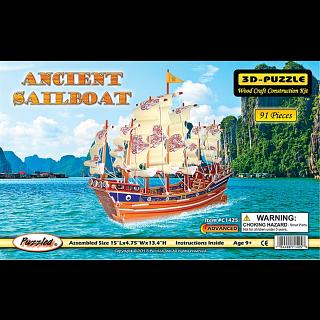 Ancient Sailboat - Illuminated 3D Wooden Puzzle