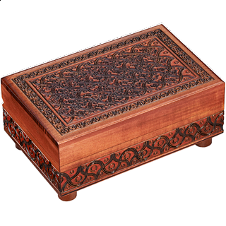 Puzzle Solution for Brown Carved Puzzle Box