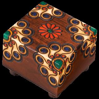 Wooden Floral Puzzle Box #2