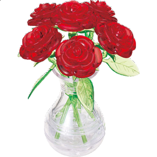 Puzzle Solution for 3D Crystal Puzzle - Roses in Vase (Red)