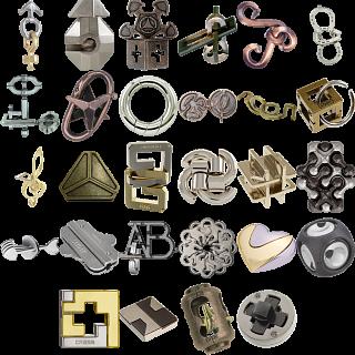 Levels 1-3: a set of 29 Hanayama Metal Puzzles