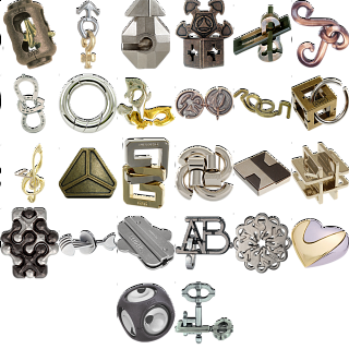 Levels 1-3: a set of 28 Hanayama Metal Puzzles