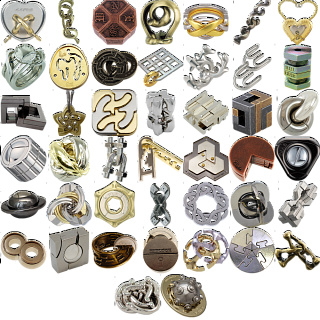Levels 4-6: a set of 37 Hanayama Metal Puzzles