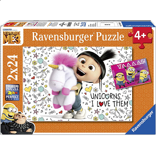 Despicable Me 3: Agnes and the Minions - 2 x 24 piece puzzles