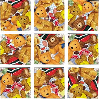 Puzzle Solution for Scramble Squares - Teddy Bears