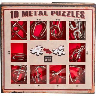 Puzzle Solution for 10 Metal Puzzle Set - Red