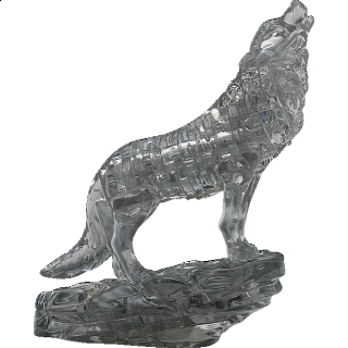 Puzzle Solution for 3D Crystal Puzzle - Wolf (Black)