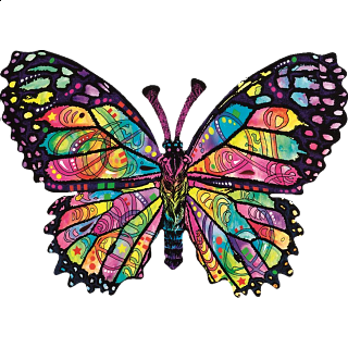 Stained Glass Butterfly - Shaped Jigsaw Puzzle