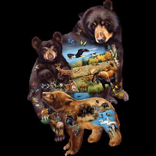 Bear Family Adventure - Shaped Jigsaw Puzzle