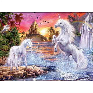 Gliiter Unicorns: Unicorn Waterfall Sunset