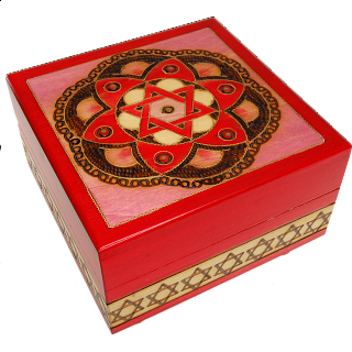Star of David & Flower Secret Box - Red