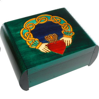 Claddagh Secret Box - Green