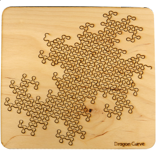Wooden Fractal Tray Puzzle - Dragon Curve