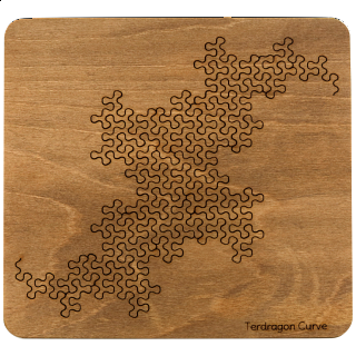 Puzzle Solution for Wooden Fractal Tray Puzzle - Terdragon Curve