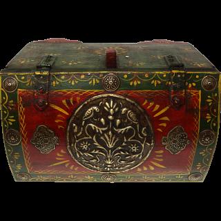 Half Round Jewelry Puzzle Box - Colored Design #3