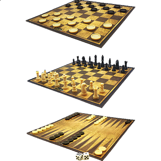 3 in 1 Classic Games: Chess, Checkers, Backgammon