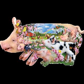 Pig Farm - Shaped Jigsaw Puzzle