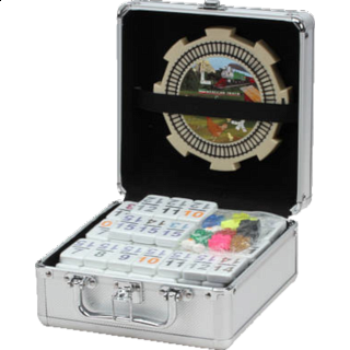 Double 15 Numeral Mexican Train Dominoes with Aluminum Case