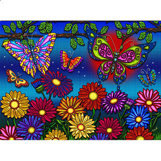 Flowers and Butterflies - Large Piece Puzzle