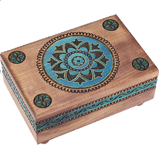 Brown Puzzle Box with Geometric Designs