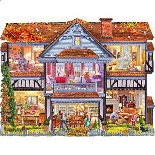 Autumn Country House - Shaped Jigsaw Puzzle