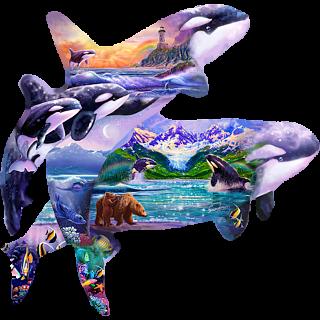 Orca Habitat - Shaped Jigsaw Puzzle