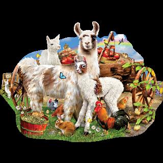 Llama Farm - Shaped Jigsaw Puzzle