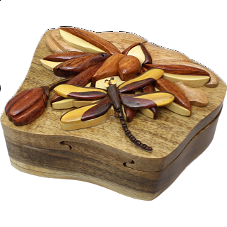 Dragonfly on Lily Pad - 3D Puzzle Box